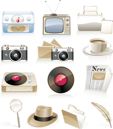 Vector vintage icon set Stock Vector - 4475680