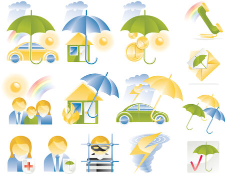 Vector detailed insurance icons Ilustra��o