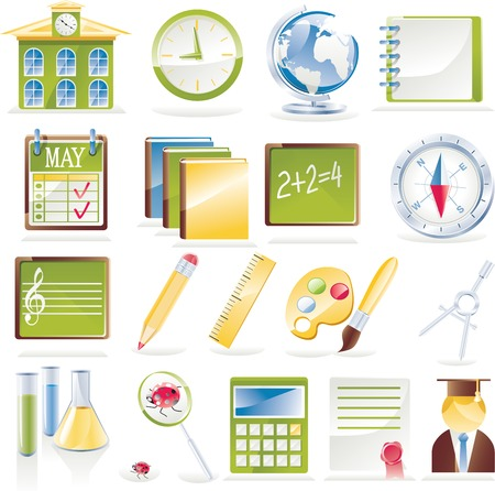 Vector school icon set Illustration