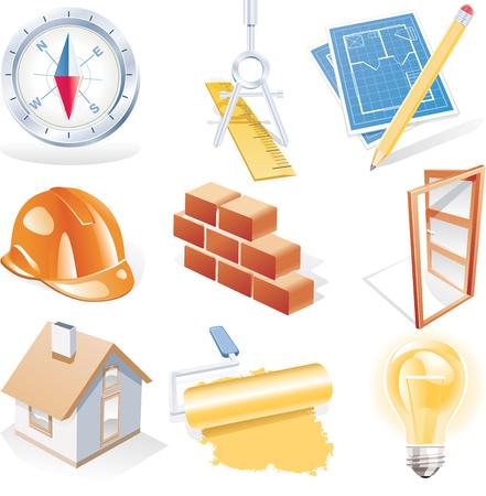 ingenieurs: Vector architectuur gedetailleerde pictogram set