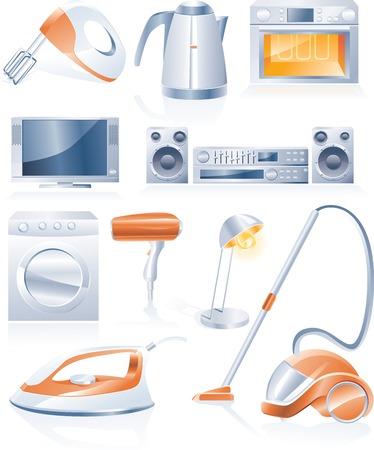 vacuuming: Vector elettrodomestici icone