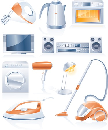 teakettle: Vector household appliances icons Illustration