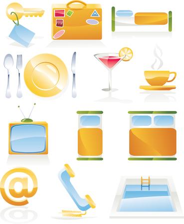 Vector hotel service icon set