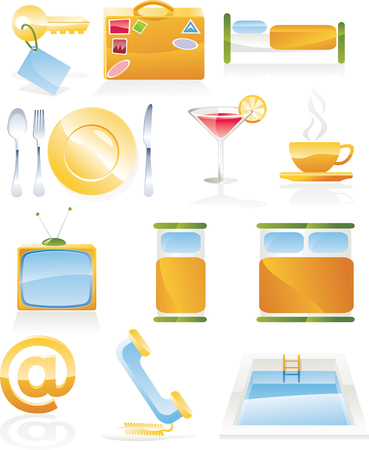 Vector hotel service icon set Stock Vector - 4534258
