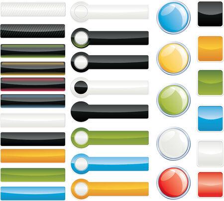 Set of shiny web menu buttons Stock Vector - 4534259