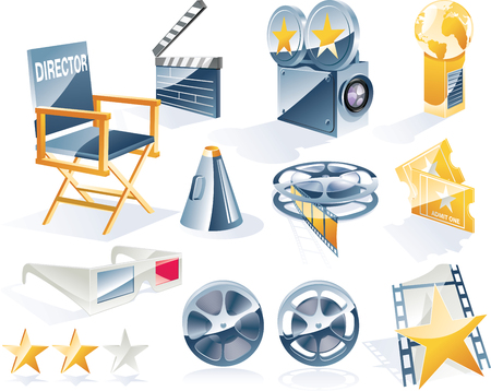 Vector detailed movie icon set Stock Vector - 4534260
