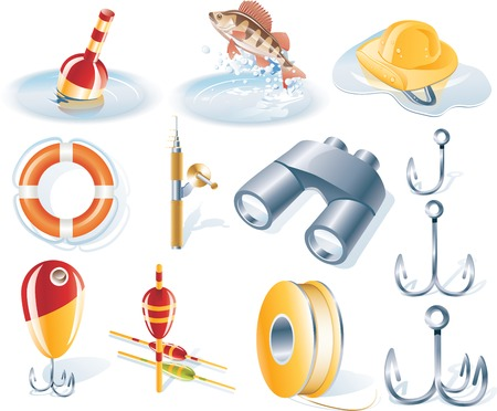 Vector fishing icon set Vector