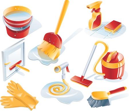 Vector servizio di pulizia icona impostare