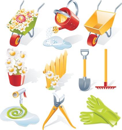 Jardinería vector icono conjunto