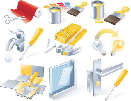 plumbers: Vector home repair service icon set Illustration