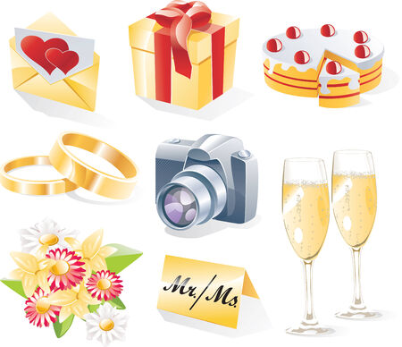Vector wedding icon set Stock Vector - 4599042