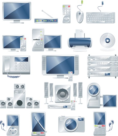 stereo subwoofer: Vector electronic equipment icon set