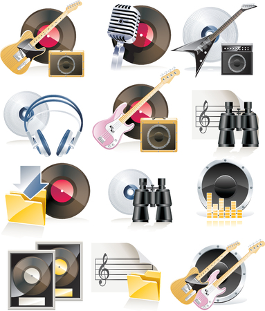 highly: Vector highly detailed musical icon set