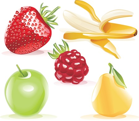 Vector detailed fruits icon set Vector