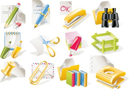 filing tray: Vector office supplies icon set