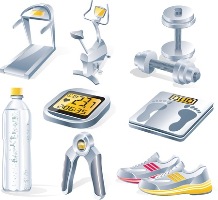 hand with dumbbell: Vector fitness equipment icon set Illustration