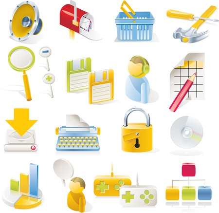 Vector objects icons set. Part 1 Stock Vector - 4666008