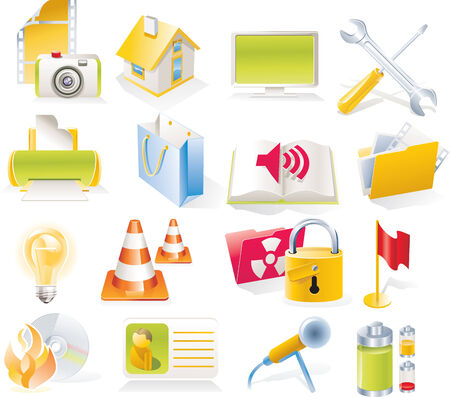 Vector objects icons set. Part 4 Stock Vector - 4666003