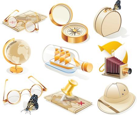 tachuelas: Cosecha de viaje vector icono conjunto