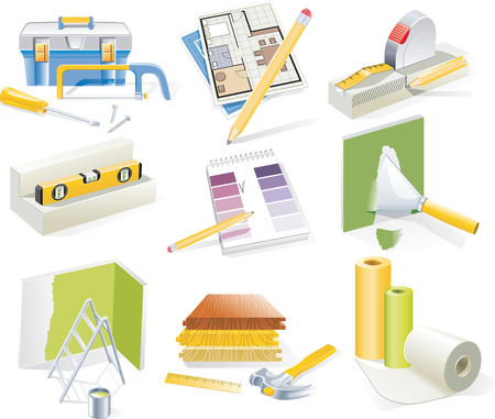 home renovations: Vector home renovation and redesign icon set