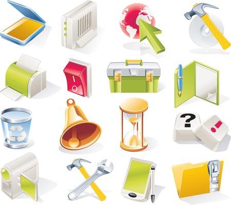 cd case: Vector de objetos iconos conjunto. Parte 7