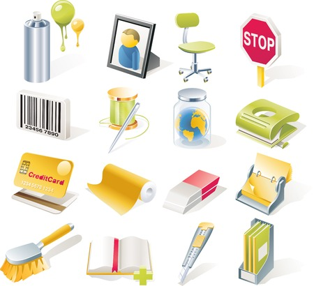 Vector objects icons set. Part 8 Stock Vector - 4751862