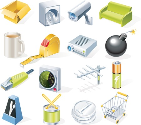 Vector objects icons set. Part 9 Stock Vector - 4751860