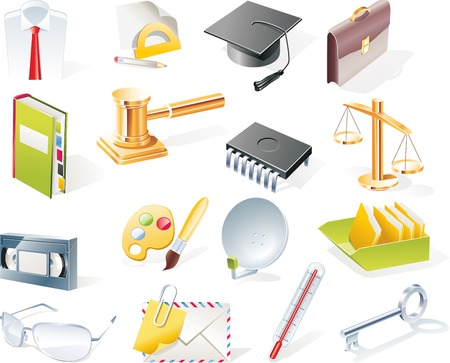 Vector objects icons set. Part 10 Illustration