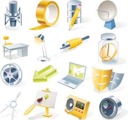 portable radio: Vector de objetos iconos conjunto. Parte 11 Vectores