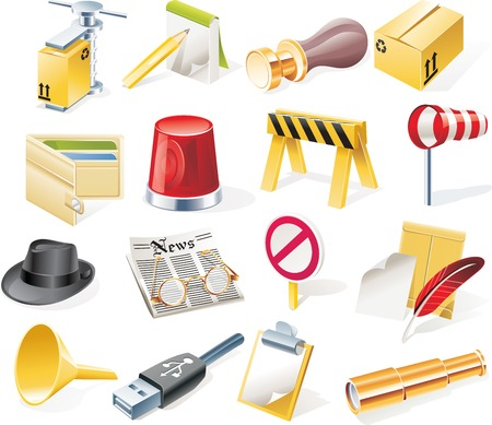 Vector objects icons set. Part 12 Stock Vector - 4751859