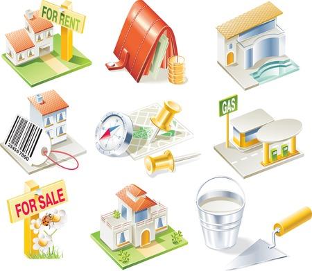 icone immobilier: Vector ic�ne de l'immobilier mis en