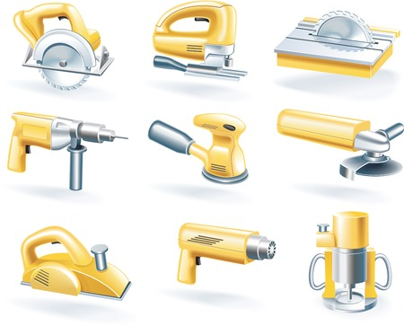 drill: Vector electric tools icon set Illustration