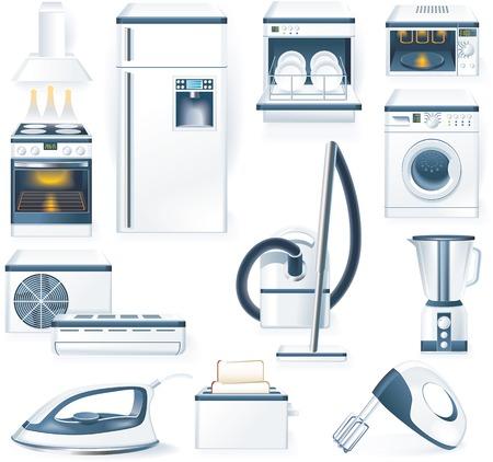 Vector iconen gedetailleerde huishoudelijke apparaten  Vector Illustratie