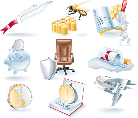 coin icon: Vector business icons set Illustration