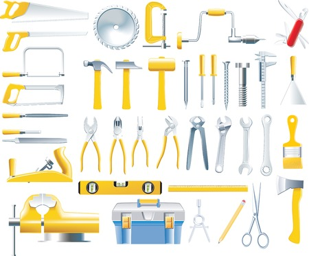 tool bag: Vector woodworker tools icon set