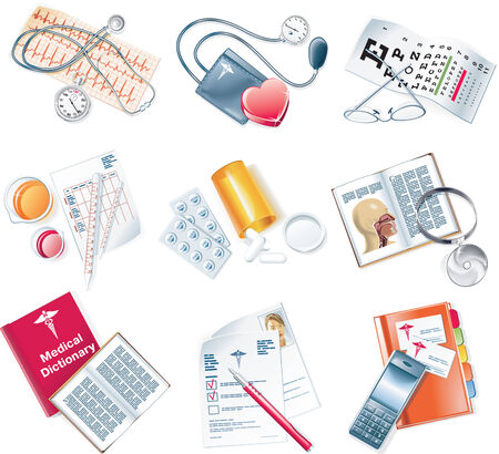 pill bottle: Vector medical icon set Illustration