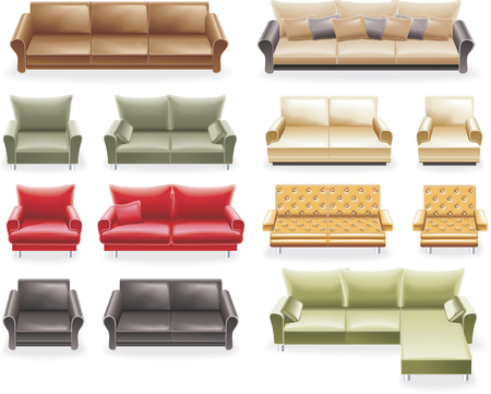 comfort room: Vector furniture icon set. Sofas
