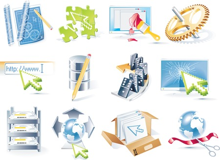 publish: Vector web site development icon set