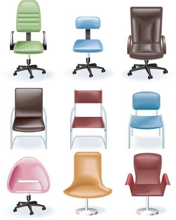 butacas: Icono de muebles Vector set. Sillas