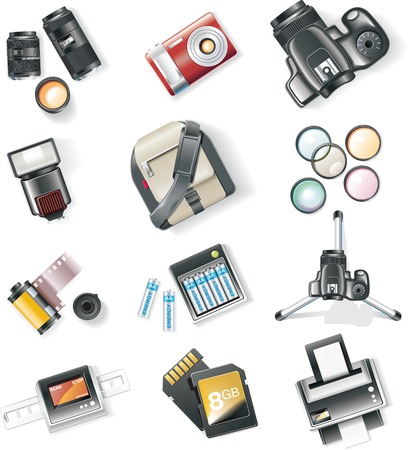 Vector photography equipment icon set Ilustra��o