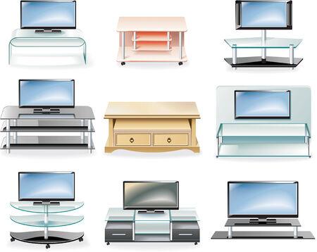 cassettiera: Icon mobili Vector set. TV Stands
