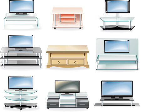 hdtv: Vector furniture icon set. Tv Stands