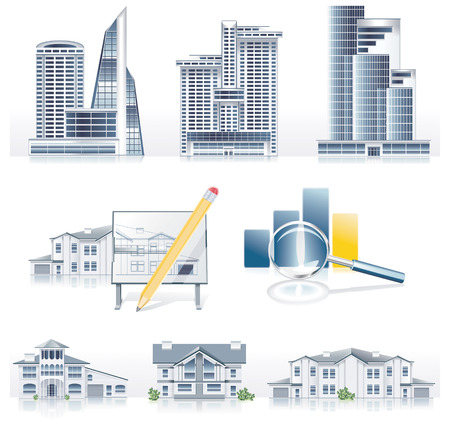 house exchange: Vector detailed architecture icon set