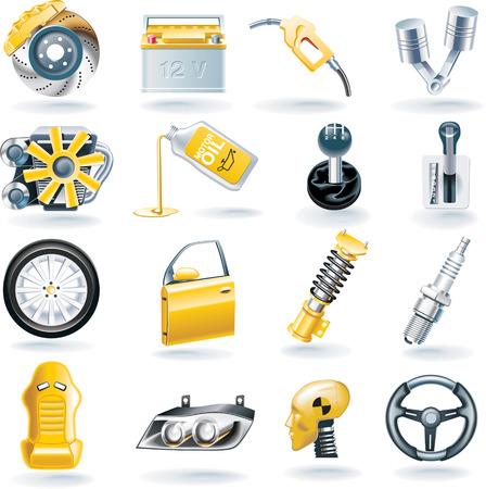 piezas coche: Vector icono conjunto de piezas de autom�viles