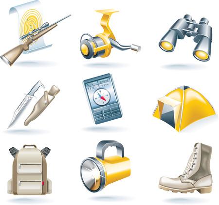 taschenlampe: Vektor-Jagd und Angeln Icon-set