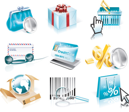 Vector shopping and Consumerism icon set Vector