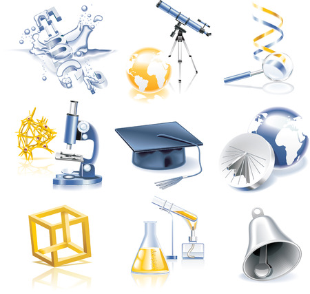 physic: Vector science and education icon set Illustration