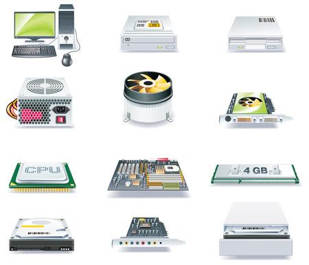 Piezas de computadoras detallada vector icono conjunto. Parte 1 Ilustración de vector