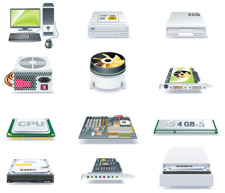 sound card: Vector detailed computer parts icon set. Part 1