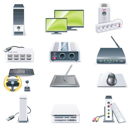 componentes electronicos: Piezas de computadoras detallada vector icono conjunto. Parte 2 Vectores